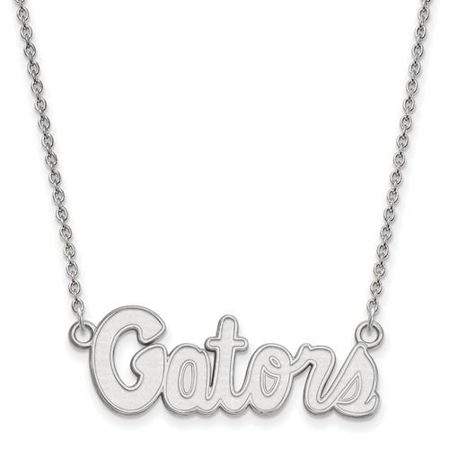 Silver 1/2in University of Florida Gators Script 18in Necklace
