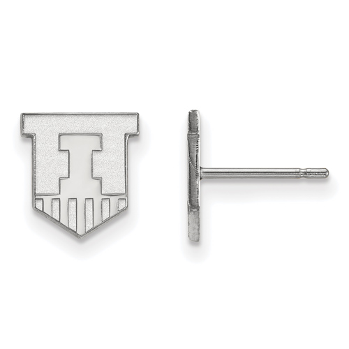 Sterling Silver University of Illinois Victory Badge Extra Small Post Earrings