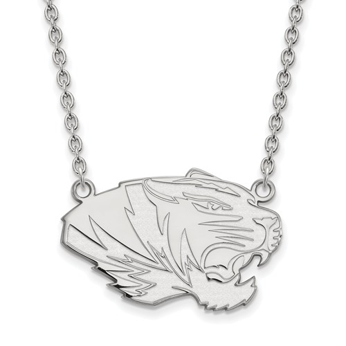 Sterling Silver University of Missouri Tiger Pendant with 18in Chain