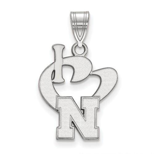 Sterling Silver 5/8in I Love University of Nebraska Logo Pendant