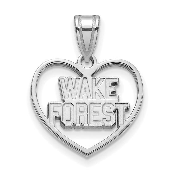 Sterling Silver 5/8in Wake Forest University Heart Pendant