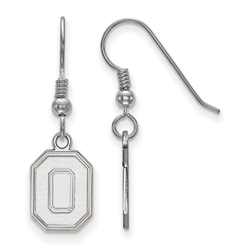 Sterling Silver Ohio State University Block O Dangle Dangle Earrings
