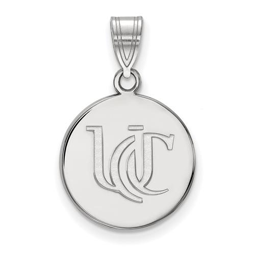 Sterling Silver 5/8in University Of Cincinnati UC Round Pendant