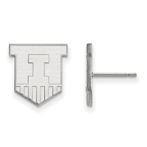 Silver University of Illinois Victory Badge Small Post Earrings