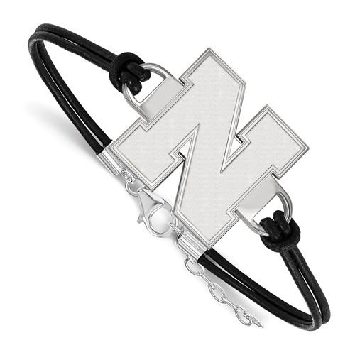 Sterling Silver University of Nebraska Leather Bracelet Small Center
