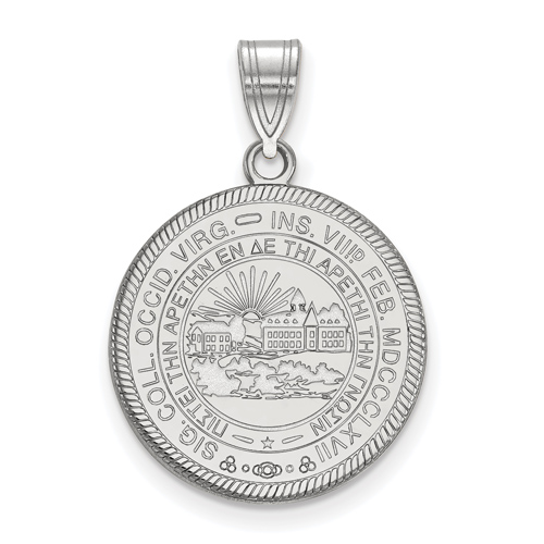 Sterling Silver 3/4in West Virginia University Crest Disc Pendant