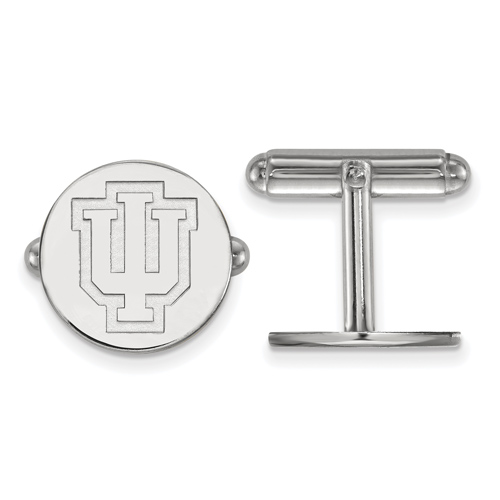 Sterling Silver Indiana University IU Outline Round Cuff Links