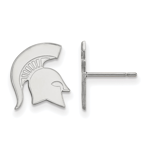 Sterling Silver Michigan State University Spartan Helmet Small Post Earrings
