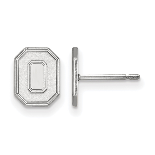 Silver Ohio State University Extra Small Block O Post Earrings