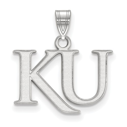 10kt White Gold 1/2in University of Kansas KU Pendant