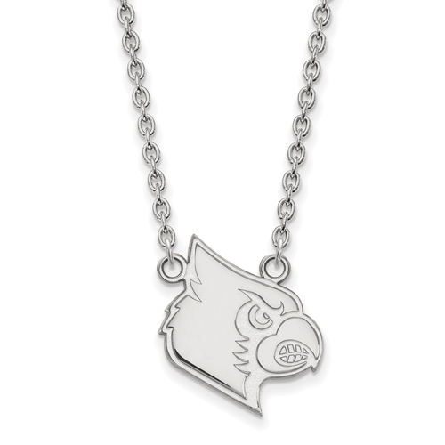 10k White Gold University of Louisville Louis Pendant with 18in Chain