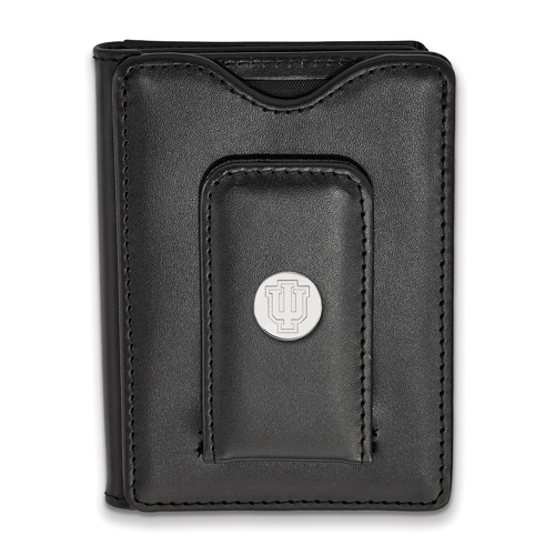 Sterling Silver Indiana University Black Leather Wallet
