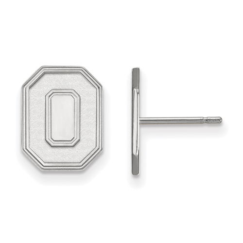 Sterling Silver Ohio State University Block O Small Post Earrings