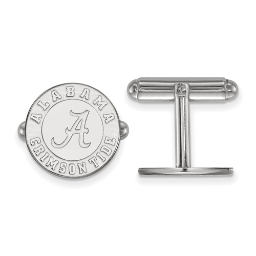 Sterling Silver University of Alabama Round Crimson Tide Cuff Links