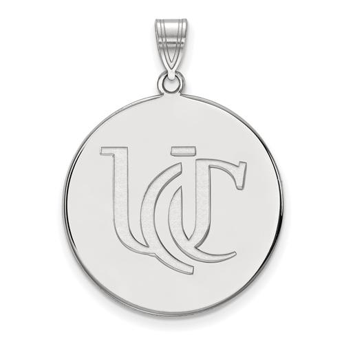 14k White Gold 1in University Of Cincinnati UC Round Pendant