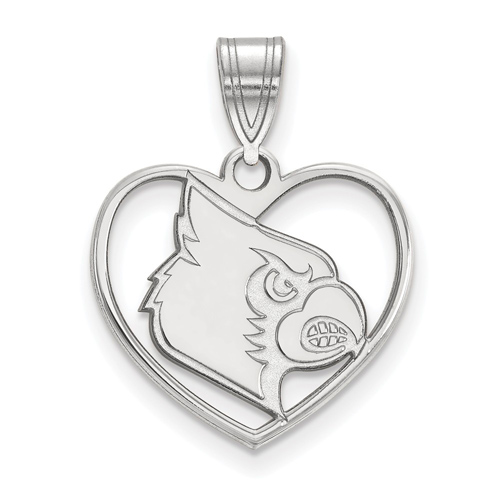 Sterling Silver 5/8in University of Louisville Heart Pendant