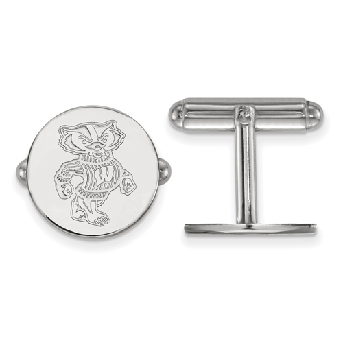 Sterling Silver University of Wisconsin Badger Cuff Links