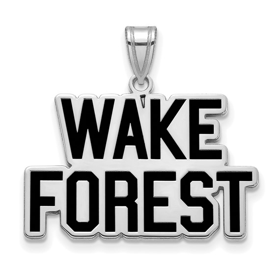 Wake Forest University Logo Enamel Pendant 3/4in Sterling Silver
