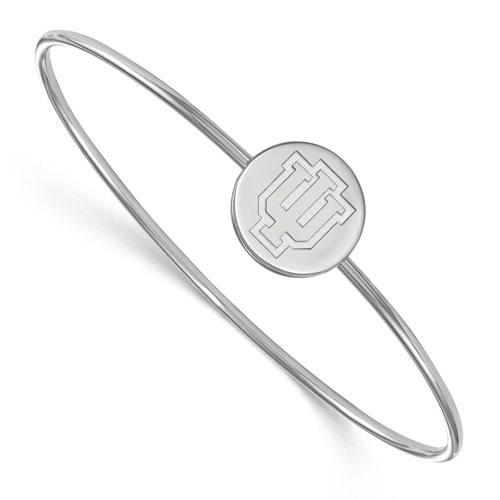 Sterling Silver 6in Indiana University Slip on Wire Bangle