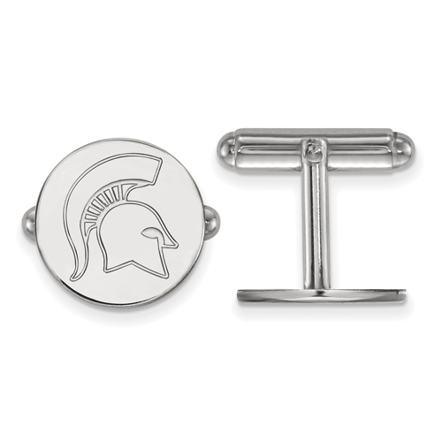 Sterling Silver Michigan State Spartan Helmet Round Cuff Links