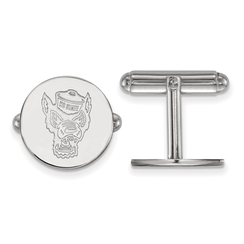 Sterling Silver North Carolina State University Round Mr. Wuf Cuff Links