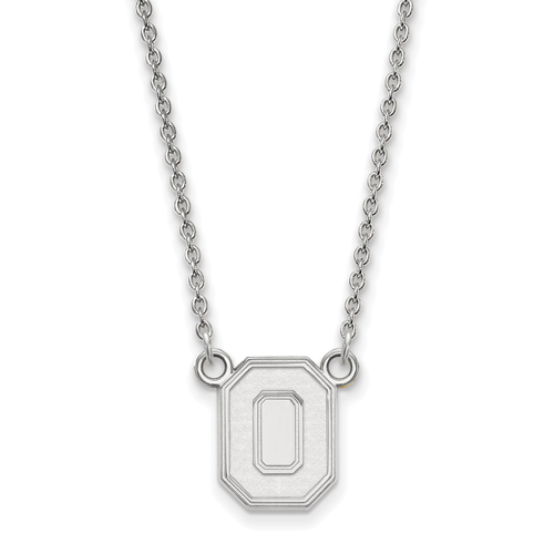Sterling Silver 1/2in Ohio State University Block O Pendant on 18in Chain