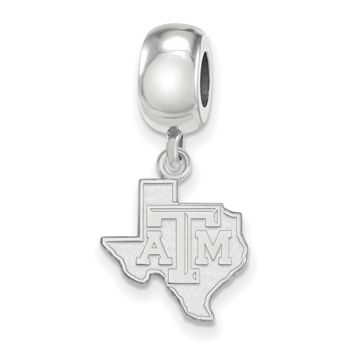Sterling Silver Texas A&M University State Outline Dangle Bead Charm