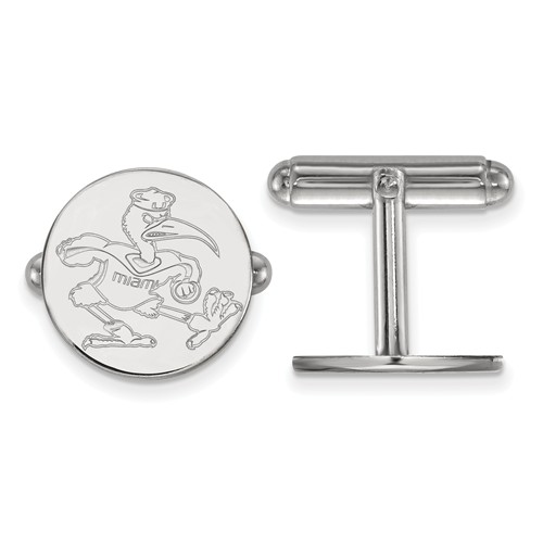 Sterling Silver University of Miami Ibis Round Cuff Links