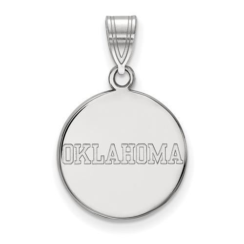 Sterling Silver 5/8in University of Oklahoma OKLAHOMA Disc Pendant