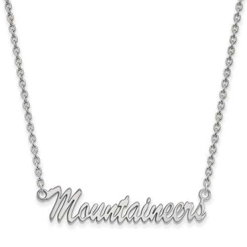 Silver West Virginia University Mountaineers Pendant with 18in Chain