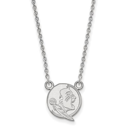 Silver 1/2in Florida State University Seminole Pendant on 18in Chain