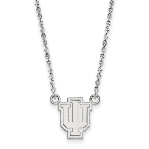 Sterling Silver 1/2in Indiana University Outline Logo Pendant with 18in Chain