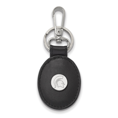 Sterling Silver Michigan State Spartan Black Leather Oval Key Chain