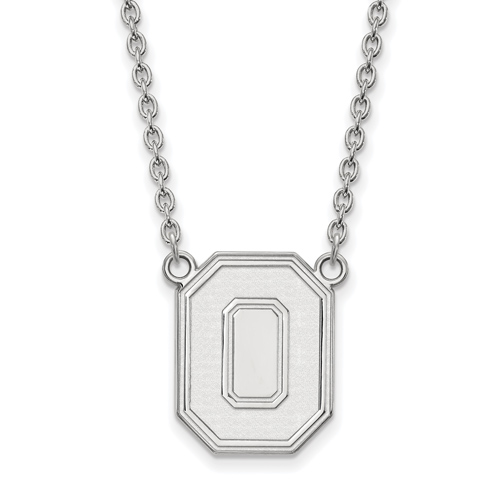 Sterling Silver 3/4in Ohio State University Block O Pendant with 18in Chain
