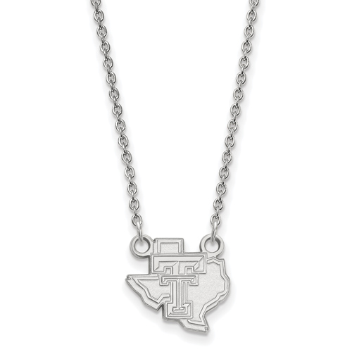 Sterling Silver 1/2in Texas Tech University State Map Pendant with 18in Chain