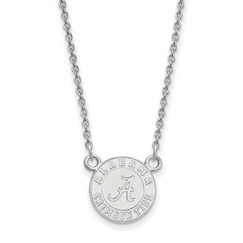 Sterling Silver 1/2in Alabama Crimson Tide Pendant with 18in Chain