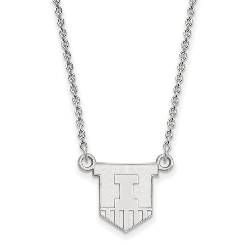 Sterling Silver 1/2in University of Illinois Victory Badge Pendant with 18in Chain