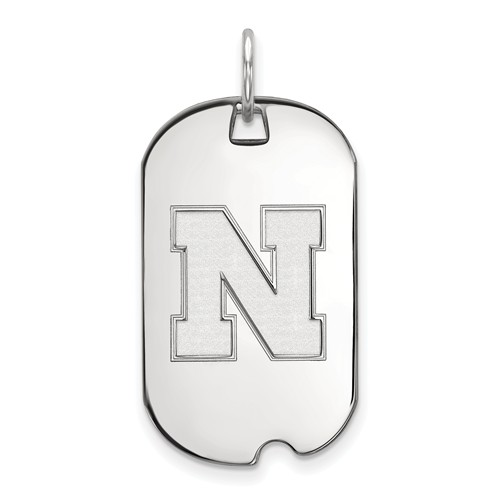 Sterling Silver University of Nebraska N Small Dog Tag