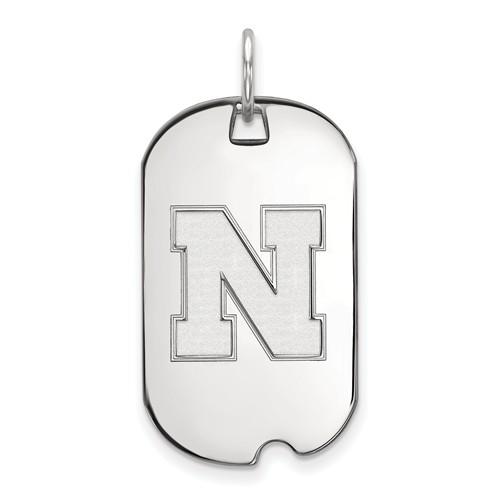 Sterling Silver University of Nebraska N Small Dog Tag