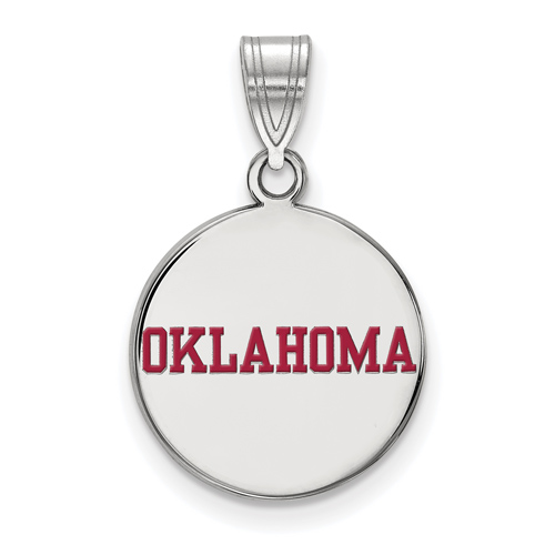 Sterling Silver 5/8in University of Oklahoma OKLAHOMA Enamel Disc Pendant