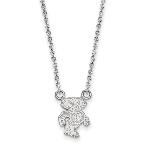 Silver 1/2in University of Wisconsin Badger Pendant with 18in Chain