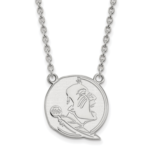 Sterling Silver 3/4in Florida State University Seminole Pendant with 18in Chain