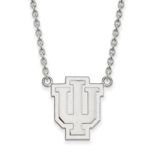 Sterling Silver Indiana University Outline Logo Pendant with 18in Chain