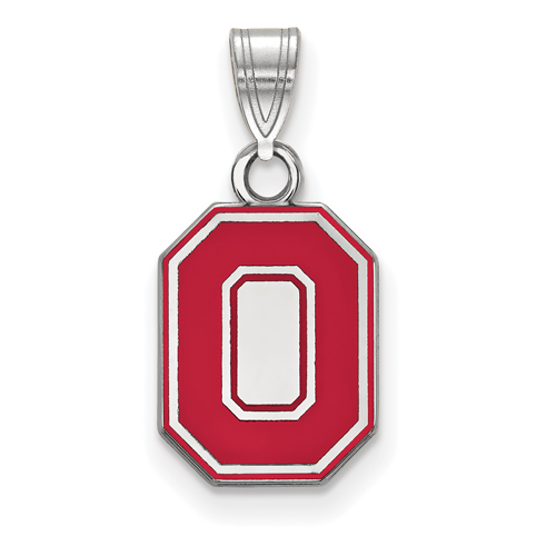Sterling Silver 1/2in Ohio State University Red Enamel Pendant
