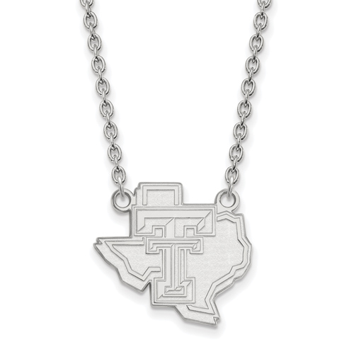 Sterling Silver Texas Tech University State Map Pendant with 18in Chain