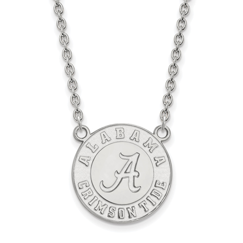 Silver University of Alabama Crimson Tide Pendant with 18in Chain