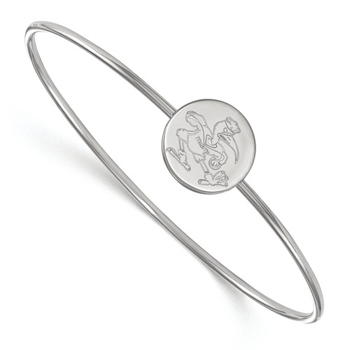 Sterling Silver 6in University of Miami Ibis Slip on Wire Bangle