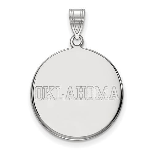 Sterling Silver 3/4in University of Oklahoma OKLAHOMA Disc Pendant