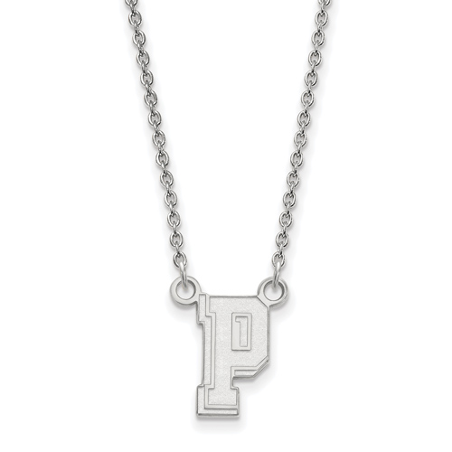 Sterling Silver 1/2in University of Pittsburgh P Pendant with 18in Chain