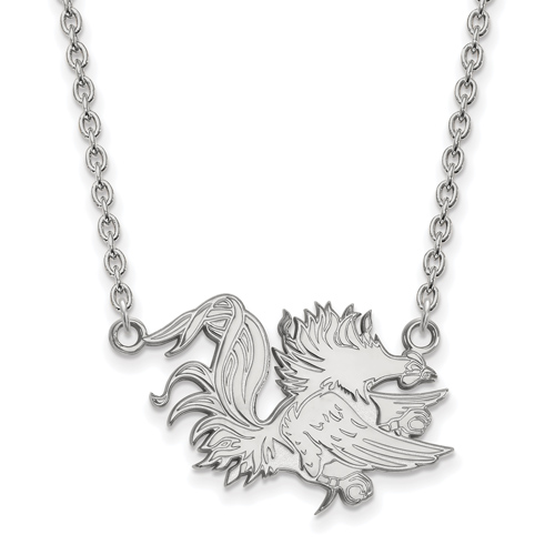Silver University of South Carolina Gamecock 18in Necklace